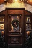 Christmas wreath on wooden door. luxury decorated store front wi royalty free stock photo