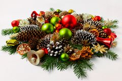 Christmas wreath with wooden jingle bell, copy space. stock image