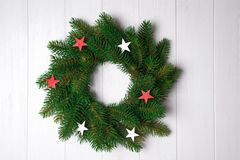 Christmas wreath with stars royalty free stock photos