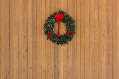 Christmas Wreath on Wooden Wall Horizontal Royalty Free Stock Photos