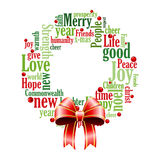 Christmas Wreath of Words. An illustration of a Christmas wreath and bow made up of words Stock Photo