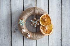 Christmas wreath wrapped jute twine Royalty Free Stock Photo