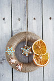 Christmas wreath wrapped jute twine Royalty Free Stock Image
