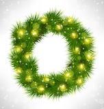 Christmas wreath with yellow glassy led Christmas lights garland Stock Image