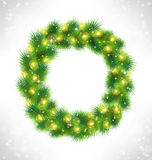 Christmas wreath with yellow glassy led Christmas lights garland Royalty Free Stock Images