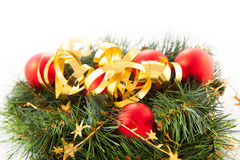 Christmas wreaths. With christmas toys on the white background royalty free stock photography