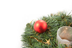 Christmas wreaths. With christmas toys on the white background Royalty Free Stock Images