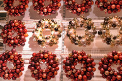 Christmas wreaths Christmas balls. In the shop Royalty Free Stock Images
