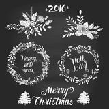 Christmas wreaths collection. Christmas hand drawn wreath. Vector xmas collection. Decoration element for cards and invitations Stock Illustration
