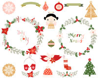 Christmas wreaths and design elements Stock Photography