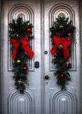 Christmas wreaths on a door Stock Photos