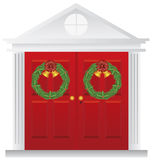 Christmas Wreaths on Double Red Door Illustration. Christmas Wreath with Golden Bells Hanging on Double Red Door with Trimmings Illustration Royalty Free Stock Images