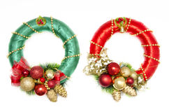Christmas wreaths green and red Royalty Free Stock Image