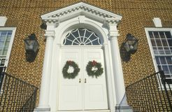 Christmas Wreaths Hung on Door of House, Dover, Delaware Royalty Free Stock Photos