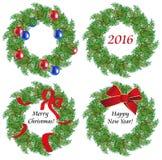Christmas wreaths made of fir branches. Christmas wreath of fir branches with toys on a white background Stock Photos