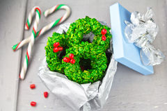 Christmas wreaths. Made of green cornflakes and candy Royalty Free Stock Photo