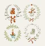 Christmas wreaths set with snowman and New Year Stock Photography