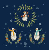 Christmas wreaths set with snowman and New Year Royalty Free Stock Images