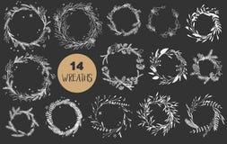 Christmas wreaths set. Stock Photo
