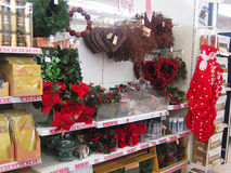 Christmas Wreaths in a store. Stock Photos