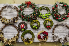 Christmas wreaths. On a wooden board royalty free stock photography