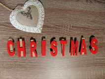 Christmas written with decoration Stock Photos