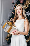 Christmas, x-mas, winter, happiness concept - Royalty Free Stock Photos