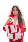 Christmas, x-mas, winter, happiness concept - smiling woman in s Royalty Free Stock Photo