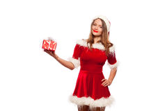 Christmas, x-mas, winter, happiness concept - smiling woman in santa helper hat with gift box, isolated on White Royalty Free Stock Images