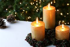 Christmas Xmas Candles  Stock Photos
