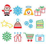 Christmas, Xmas celebrate icons set Royalty Free Stock Photo