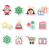 Christmas, Xmas celebrate icons set Stock Photos