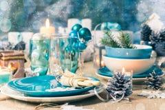 Christmas xmas eve table board setting Stock Photo