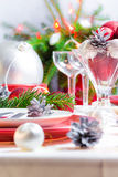 Christmas xmas eve table setting Royalty Free Stock Images