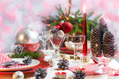 Christmas xmas eve table setting supper Stock Photos