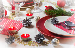Christmas xmas eve table setting supper Royalty Free Stock Photo