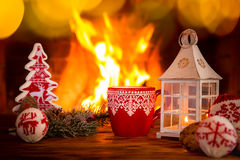 Christmas Xmas Fireplace Holiday Winter. Christmas decoration near fireplace. Winter holiday Xmas and New Year concept Stock Photos