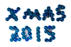 Christmas XMAS 2015 message in blue baubles Stock Image