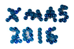 Christmas XMAS 2016 message in blue baubles Royalty Free Stock Photos