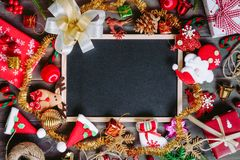 Christmas Xmas New Year holiday background with empty black chal Royalty Free Stock Photography