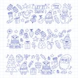 Christmas Xmas New year Vector doodle set of icons with Santa Claus, penguin, snowman, bear, presents, christmas Stock Photos