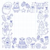 Christmas Xmas New year Vector doodle set of icons with Santa Claus, penguin, snowman, bear, presents, christmas Stock Image
