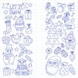 Christmas Xmas New year Vector doodle set of icons with Santa Claus, penguin, snowman, bear, presents, christmas Royalty Free Stock Images