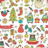Christmas Xmas New year Vector doodle set of icons with Santa Claus, penguin, snowman, bear, presents, christmas Royalty Free Stock Photo