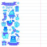 Christmas Xmas New year Vector doodle set of icons with Santa Claus, penguin, snowman, bear, presents, christmas Stock Photography
