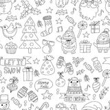 Christmas Xmas New year Vector doodle set of icons with Santa Claus, penguin, snowman, bear, presents, christmas Stock Photo