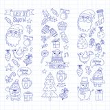 Christmas Xmas New year Vector doodle set of icons with Santa Claus, penguin, snowman, bear, presents, christmas Stock Images