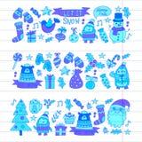 Christmas Xmas New year Vector doodle set of icons with Santa Claus, penguin, snowman, bear, presents, christmas Stock Photos