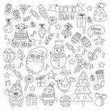 Christmas Xmas New year Vector doodle set of icons with Santa Claus, penguin, snowman, bear, presents, christmas. Decorations royalty free illustration