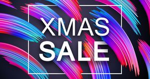Christmas xmas sale promo poster with abstract colorful brush st. Roke design. Vector background royalty free illustration